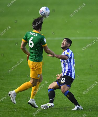Ben Davies of Preston North End and Massimo Luongo of Sheffield Wednesday