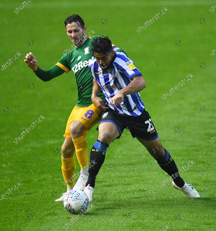 Alan Browne of Preston North End and Massimo Luongo of Sheffield Wednesday