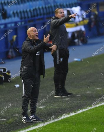 Alex Neil manager of Preston North End shouts instructions from the touchline