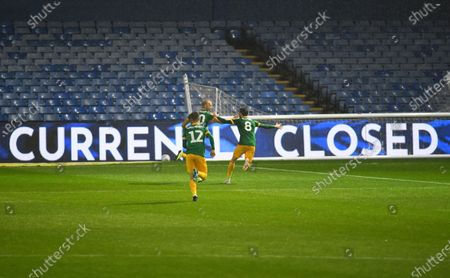 Jayden Stockley of Preston North End celebrates scoring his side's second goal in front of the empty stands