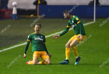 Brad Potts of Preston North End celebrates with Paul Gallagher after scoring his side's third goal
