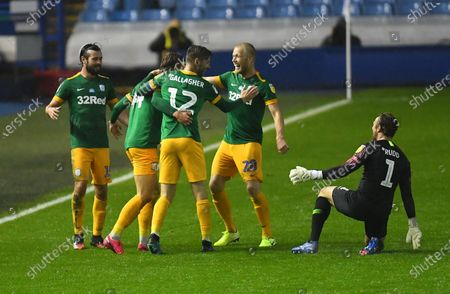 Brad Potts of Preston North End celebrates with teammates after scoring his side's third goal