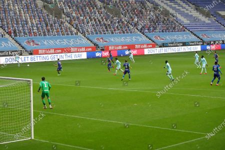 A general view of the match at the DW stadium between Wigan Athletic and QPR with SKY BET LED advertising