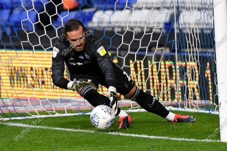Birmingham City goalkeeper Lee Camp (1) stops the ball on the line ,saves during the EFL Sky Bet Championship match between Birmingham City and Swansea City at the Trillion Trophy Stadium, Birmingham