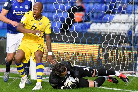 Swansea City forward Andre Ayew (22) appeals for a goal as Birmingham City goalkeeper Lee Camp (1) saves during the EFL Sky Bet Championship match between Birmingham City and Swansea City at the Trillion Trophy Stadium, Birmingham