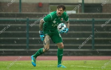 RWDM's goalkeeper Anthony Sadin pictured in action during a friendly soccer match of Belgian first division soccer team KV Mechelen against 1B team RWDM Racing White Daring Molenbeek, in preparation for the 2020-2021 season, Wednesday 08 July 2020 in Braine L'Alleud.