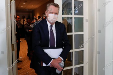 Robert Lighthizer, US trade representative, wears a protective mask while arriving to a signing ceremony in the Rose Garden of the White House in Washington, DC, USA, on 08 July 2020. US President Donald J. Trump is meeting with Mexican president Andres Manuel Lopez Obrador at the White House.