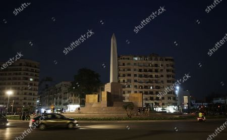 General view of the obelisk during the renovation of Tahrir Square, in Cairo, Egypt, 08 July 2020. According to reports, Egyptian government at the end of December 2019 issued a decision for the renovation of the iconic Tahrir square, that was the stage of anti-government protests that led to the ousting of former president Hosni Mubarak in 2011. The renovation process includes the relocating of four rams from Karnak Temple's Hall of Celebration in Luxor and an obelisk from Sun Al-Hajar in the east of Egypt, a decision that raised concerns from experts and archeologists.