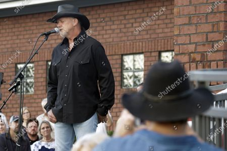 Trace Adkins performs during a memorial service for fellow country music star Charlie Daniels, in Mt. Juliet, Tenn. Daniels died Monday, July 6