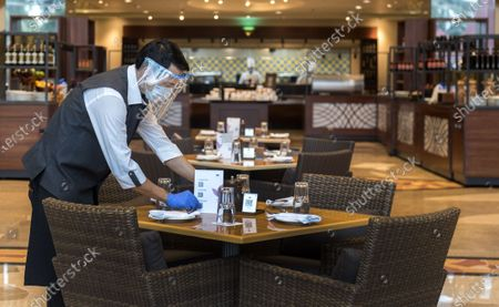 Staff members at J W Marriott, Juhu following   after Government on Wednesday allowed Hotels to commence operations with 33 percent occupancy, on July 8, 2020 in Mumbai, India.