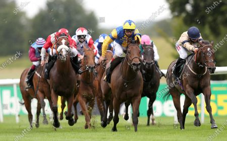 Stock Photo of Chairmanoftheboard ridden by Andrea Atzeni (yellow silks) wins the Price Promise At bet365 Handicap during day one of The Moet and Chandon July Festival at Newmarket Racecourse. PA Photo. Issue date: Thursday July 9, 2020. See PA story RACING Newmarket. Photo credit should read: David Davies/PA Wire, supplied by Hugh Routledge.