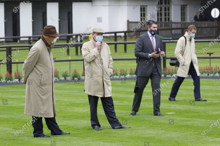 Trainers l-r John Gosden, Richard Hannon, Hugo Palmer and George Scott line the paddock before the opening race of the July Meeting at Newmarket. 9/7/2020 Pic Steve Davies, supplied by Hugh Routledge.