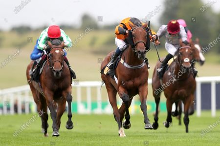 Stock Picture of Bear Force One ridden by William Buick wins the Each Way Extra At bet365 Handicap during day one of The Moet and Chandon July Festival at Newmarket Racecourse. PA Photo. Issue date: Thursday July 9, 2020. See PA story RACING Newmarket. Photo credit should read: David Davies/PA Wire, supplied by Hugh Routledge.