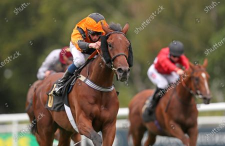 Bear Force One ridden by William Buick wins the Each Way Extra At bet365 Handicap during day one of The Moet and Chandon July Festival at Newmarket Racecourse. PA Photo. Issue date: Thursday July 9, 2020. See PA story RACING Newmarket. Photo credit should read: David Davies/PA Wire, supplied by Hugh Routledge.
