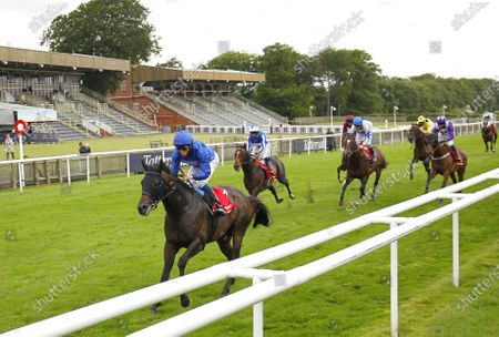 Al Suhail and William Buick win the Bahrain International Sir Henry Cecil Stakes at Newmarket. 9/7/2020 Pic Steve Davies, supplied by Hugh Routledge.
