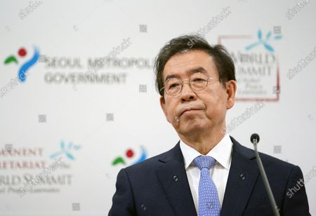 Park Won Soon, Seoul City Mayor, speaks during a press conference of announcing the 2020 World Summit of Nobel Peace Laureates at the city conference room in Seoul, South Korea on December 5, 2019. The World Summit of Nobel Peace Laureates was initiated by Mikhail Gorbachev in the 1990s, as a forum in which the Nobel Peace Laureates and the Peace Laureate Organizations could come together to address global issues with a view to encourage and support peace and human well-being in the world.Seoul Mayor Park Won-Soon is in missing and the police is searching for him near the place where his mobile phone has been turned off.