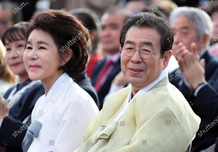 PARK Won-Soon and his wife Kang Nan-hee during the Asian Week Opening Ceremony in Seoul, South Korea. Seoul Mayor Park Won-Soon is in missing and the police is searching for him near the place where his mobile phone has been turned off.