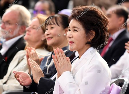 KANG Nan-hee, wife of Seoul Mayor Park Won-soon, during the Asian Week Opening Ceremony in Seoul, South Korea. Seoul Mayor Park Won-Soon is in missing and the police is searching for him near the place where his mobile phone has been turned off.