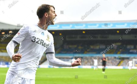 Patrick Bamford of Leeds United celebrates scoring the fifth goal 5-0