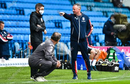 Manager Michael O'Neill of Stoke City complains about tactics employed by the Leeds United bench