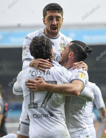 Helder Costa of Leeds United scores the second goal 2-0 and celebrates