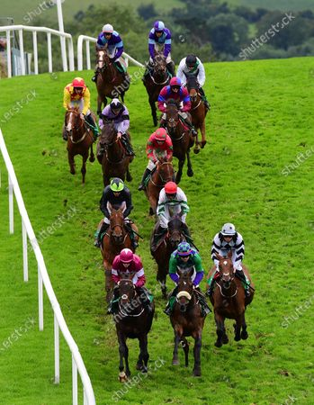 Downpatrick Action from the Randox Health Maiden Hurdle won by SOLDIERS HILL & Davy Russell (red cap).