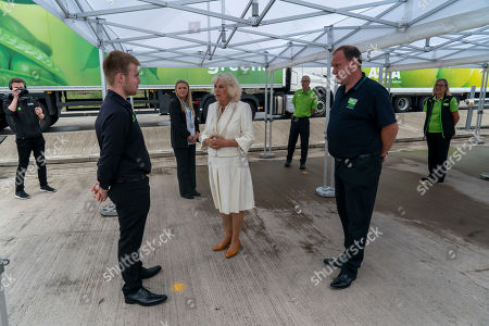 Camilla Duchess of Cornwall visits an Asda Distribution Centre to thank staff who have kept the country's vital food supplies moving throughout the coronavirus pandemic.
