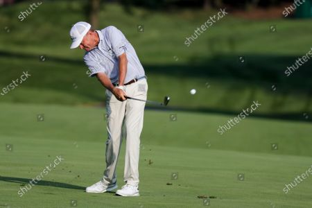 Davis Love III hits on the 13th hole during opening round of the Workday Charity Open golf tournament, in Dublin, Ohio