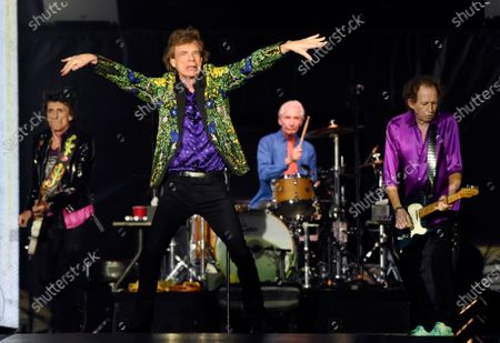 """Stock Photo of Ron Wood, from left, Mick Jagger, Charlie Watts and Keith Richards of the Rolling Stones perform during their concert in Pasadena, Calif. The Rolling Stones are releasing a new version of their 1973 album """"Goats Head Soup"""" with three unheard tracks. One of the new tracks is called """"Scarlet"""" and features Led Zeppelin guitarist Jimmy Page. The album coming out on will have a four-disc CD and vinyl box set edition with ten bonus tracks. The Stones also released a video for one of the unheard songs, called """"Criss Cross"""