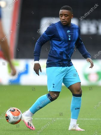 Steven Bergwijn of Tottenham warms up ahead of the English Premier League match between AFC Bournemouth and Tottenham Hotspur in Bournemouth, Britain, 09 July 2020.