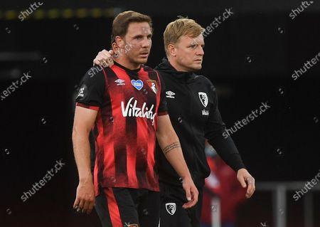 Bournemouth's Dan Gosling (L) and Bournemouth's  manager Eddie Howe (R) react after the English Premier League match between AFC Bournemouth and Tottenham Hotspur in Bournemouth, Britain, 09 July 2020.