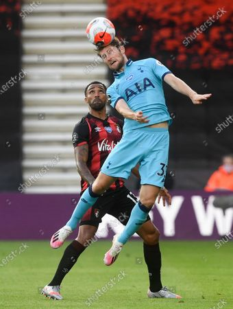 Callum Wilson (L) of Bournemouth in action against Ben Davies (R) of Tottenham during the English Premier League match between AFC Bournemouth and Tottenham Hotspur in Bournemouth, Britain, 09 July 2020.