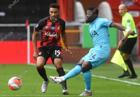 Junior Stanislas (L) of Bournemouth in action against Serge Aurier (R) of Tottenham during the English Premier League match between AFC Bournemouth and Tottenham Hotspur in Bournemouth, Britain, 09 July 2020.