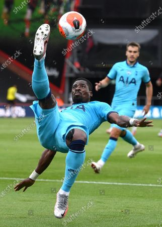 Serge Aurier of Tottenham takes an overhead kick during the English Premier League match between AFC Bournemouth and Tottenham Hotspur in Bournemouth, Britain, 09 July 2020.