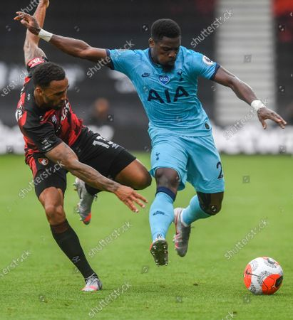 Callum Wilson (L) of Bournemouth in action against Serge Aurier (R) of Tottenham during the English Premier League match between AFC Bournemouth and Tottenham Hotspur in Bournemouth, Britain, 09 July 2020.