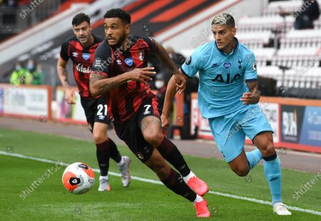 Joshua King (L) of Bournemouth in action against Erik Lamela (R) of Tottenham during the English Premier League match between AFC Bournemouth and Tottenham Hotspur in Bournemouth, Britain, 09 July 2020.