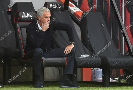 Tottenham Hotspur manager Jose Mourinho looks on during the English Premier League match between AFC Bournemouth and Tottenham Hotspur in Bournemouth, Britain, 09 July 2020.