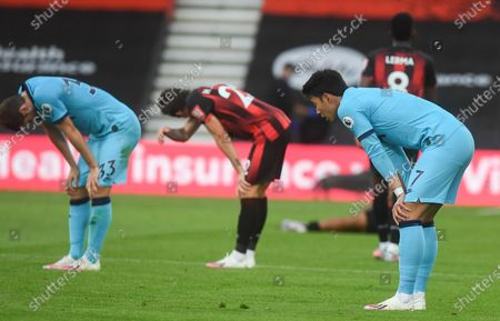 Son Heung-Min (R) of Tottenham reacts after the English Premier League match between AFC Bournemouth and Tottenham Hotspur in Bournemouth, Britain, 09 July 2020.
