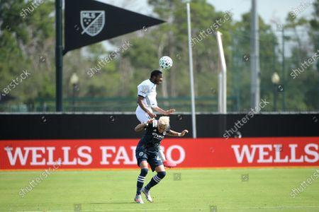 Philadelphia Union's Raymon Gaddis, above, wins a header over New York City FC's Ronald Matarrita during an MLS soccer match, in Kissimmee, Fla