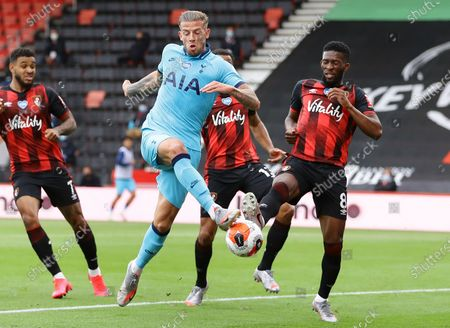 Jefferson Lerma (R) of Bournemouth in action against Toby Alderweireld (C) of Tottenham  during the English Premier League match between AFC Bournemouth and Tottenham Hotspur in Bournemouth, Britain, 09 July 2020.