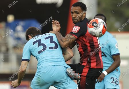 Callum Wilson (R) of Bournemouth in action against Ben Davies (L) of Tottenham during the English Premier League match between AFC Bournemouth and Tottenham Hotspur in Bournemouth, Britain, 09 July 2020.