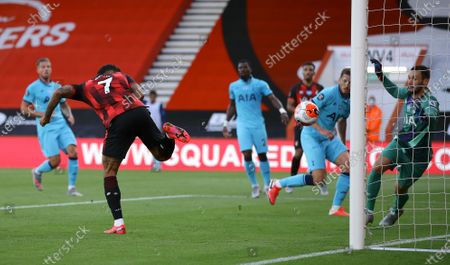 Joshua King of Bournemouth (L) in action during the English Premier League match between AFC Bournemouth and Tottenham Hotspur in Bournemouth, Britain, 09 July 2020.