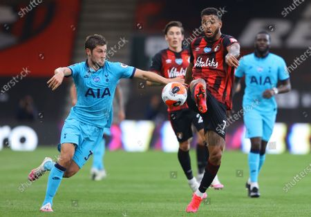 Joshua King (R) of Bournemouth in action against Ben Davies (L) of Tottenham during the English Premier League match between AFC Bournemouth and Tottenham Hotspur in Bournemouth, Britain, 09 July 2020.