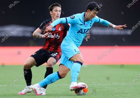 Harry Wilson (L) of Bournemouth in action against Son Heung-Min (R) of Tottenham  during the English Premier League match between AFC Bournemouth and Tottenham Hotspur in Bournemouth, Britain, 09 July 2020.