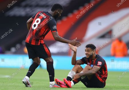 Joshua King (R) and Jefferson Lerma (L) of Bournemouth react after the English Premier League match between AFC Bournemouth and Tottenham Hotspur in Bournemouth, Britain, 09 July 2020.