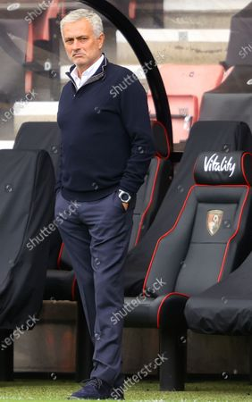 Tottenham Hotspur manager Jose Mourinho ahead of the English Premier League match between AFC Bournemouth and Tottenham Hotspur in Bournemouth, Britain, 09 July 2020.