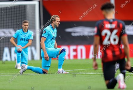 Harry Kane of Tottenham takes a knee in support of the Black lives Matter campaign ahead of the English Premier League match between AFC Bournemouth and Tottenham Hotspur in Bournemouth, Britain, 09 July 2020.