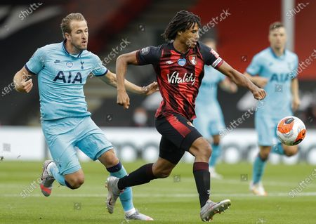 Nathan AkE (R) of Bournemouth in action against Harry Kane (L) of Tottenham during the English Premier League match between AFC Bournemouth and Tottenham Hotspur in Bournemouth, Britain, 09 July 2020.