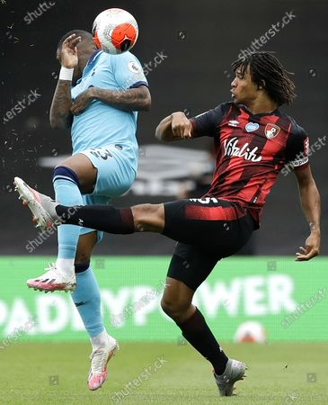 Nathan Ake (R) of Bournemouth in action against Steven Bergwijn (L) of Tottenham during the English Premier League match between AFC Bournemouth and Tottenham Hotspur in Bournemouth, Britain, 09 July 2020.