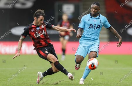 Adam Smith (L) of Bournemouth in action against Steven Bergwijn (R) of Tottenham  during the English Premier League match between AFC Bournemouth and Tottenham Hotspur in Bournemouth, Britain, 09 July 2020.
